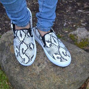 Shoes - Black & White Snake Animal Print Slip On Sneakers